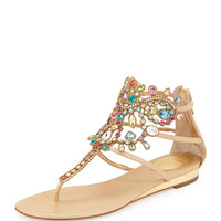 Multicolor Crystal Cage Thong Sandal - Rene Caovilla