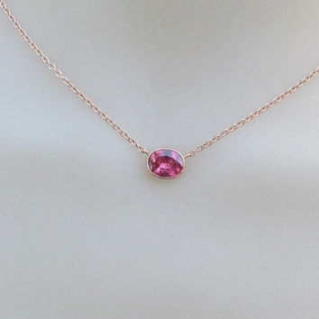 Watermelon Color Sapphire in 14k Rose Gold Bezel Setting Layering Necklace with Cable Chain Christmas Birthday Keepsake Gift for Her
