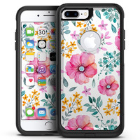 Subtle Watercolor Pink Floral - iPhone 7 or 7 Plus Commuter Case Skin Kit