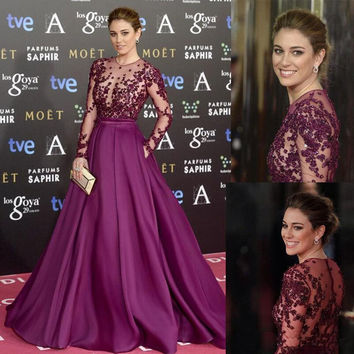 Elegant Long Celebrity Evening Dresses Sheer Long Sleeve Illusion Bodice Applique Beading Red Carpet Dress Evening Gown