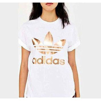 Adidas Originals Gold Logo Short Sleeve Round Collar T-Shirt I