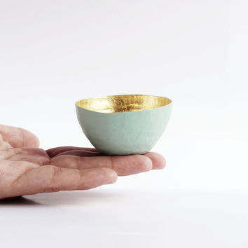 Paper Mache Bowl in Seafoam Mint Green and Gold - The Tiny