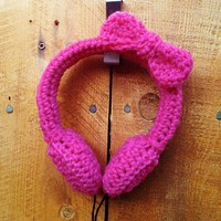 Adorable Bow Crocheted Headphones - 3 Colors Available - Whimsical & Unique Gift Ideas for the Coolest Gift Givers