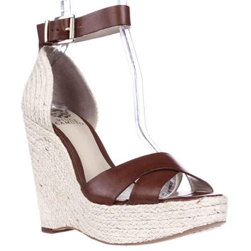 Vince Camuto Maurita Ankle Strap Wedge Sandals - Summer Cognac