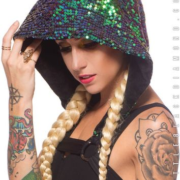 Labyrinth Hooded Harness in Siren Sequin