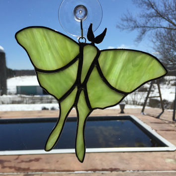 Handmade Stained Glass Luna Moth Suncatcher