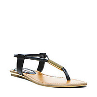 Thong Sandals | Black, White & Gold | Steve Madden HAMIL