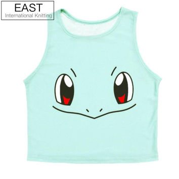 F572 Women's Funny Squirtle Harajuku Crop Top Sexy  Camisole 3D Bulbasaur Pokemon Cartoon Print Lady Tank Tops Vest Shirt