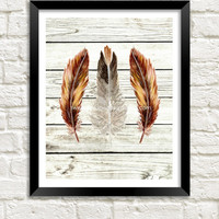 Feather Art Print, Modern Tribal Art, Feather Printable, 8x10 Instant Download, Modern Wall Decor, Black Brown Feather Art, Boho Decor