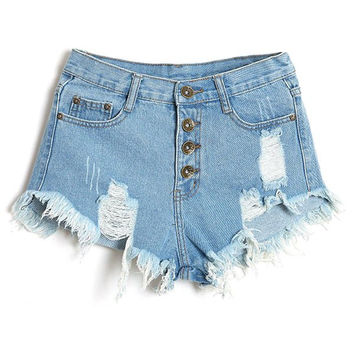 Bleach Wash Frayed Tassel Denim Shorts For Women