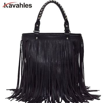 2018 New Women's Fashion Punk Tassel Fringe Fashion PU Leather Handbag Shoulder Bag Tote Bag in Stock YHZ242
