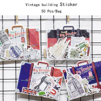 50 pcs/lot Vintage European architecture paper sticker package DIY diary decoration sticker album scrapbooking kawaii stationery