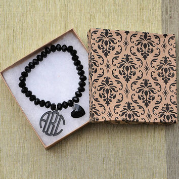 Birthday Gift - Handcrafted Monogram Bracelet with Pearls - 1 inch Circle Personalized Monogram Acrylic Custom Made