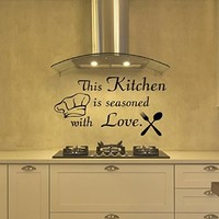 Wall Decals This Kitchen is seasoned with Love Decal Vinyl Sticker Home Decor Interior Design Cafe Restaurant Mural MN78