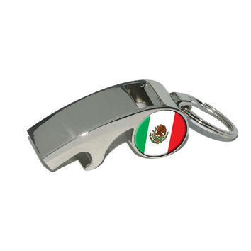 Mexico Mexican Flag Whistle Bottle Opener Keychain