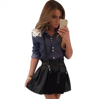 Fashion Casual Women Long Sleeve Turn Down Collar Denim Blouse Tops