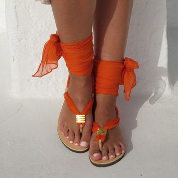 Thong lace up sandals with interchangeable silk scarf laces,Fully Customizable. Sophia 03. NEW.