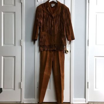 Authentic vintage 80s women's cognac fringed pants set sz M/10