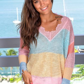 Multi Colored Knit Long Sleeve Top