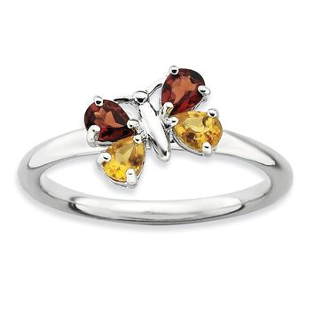 Stackable Pear Shape Garnet and Citrine Gemstone Butterfly Ring