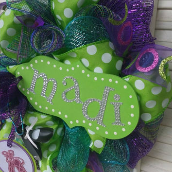 Ballet Wreath Tap Dance Custom Mesh Wreath Girls Room Decor Tap and Ballet Decor Personalized Wreath Lime Purple Turquoise Small Wreath Tap