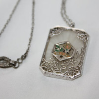 Art Deco Necklace Sterling Silver Filigree Camphor Glass Pendant Enamel 1920s Victorian  Jewelry
