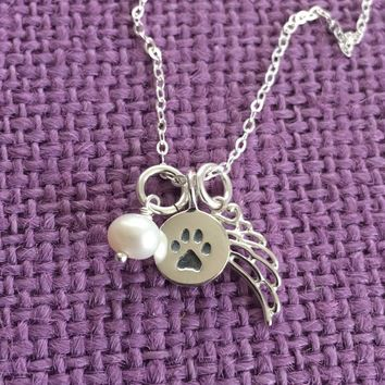 Pet Memorial Jewelry - Dog Remembrance - Sterling Silver  Necklace - Dog Angel Necklace - Delicate Jewelry - Tiny Charm Pendant Neckla
