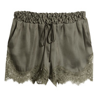 H&M - Satin Shorts with Lace - Khaki green - Ladies