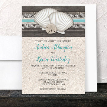Beach Wedding Invitations - Seashells Lace Rustic Wood and Sand Beach - Teal Turquoise Beige Brown - Printed Invitations