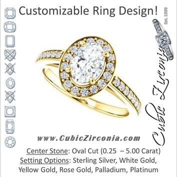 Cubic Zirconia Engagement Ring- The Farrah Michelle (Customizable Oval Cut with Halo & Sculptural Trellis)
