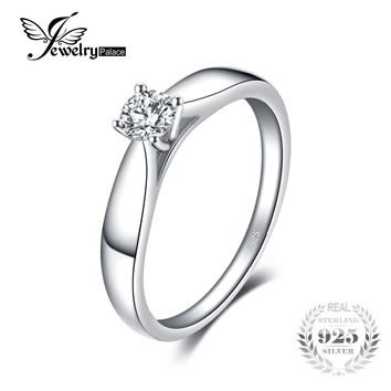 JewelryPalace 925 Sterling Silver 0.2ct Cubic Zirconia Solitaire Engagement Ring For Girl Fashion Simple Jewelry For Women Ring