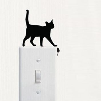 Room Window Wall Decorating 1pc Cat Switch Vinyl Decal Sticker Decor Cartoon Paste The Decal On The Wall And Slowly Peel It Off