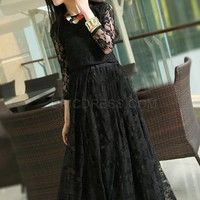$ 30.79 Ericdress Black Lace Long Sleeve Maxi Dress