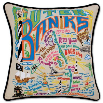 Outer Banks Hand Embroidered Pillow