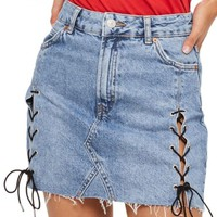 Topshop Lace-Up Denim Miniskirt (Regular & Petite) | Nordstrom