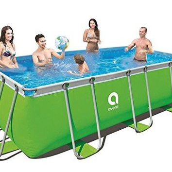 By PoolCentral 13' x 6.5' Neon Green Rectangular Steel Frame Above Ground Swimming Pool Set