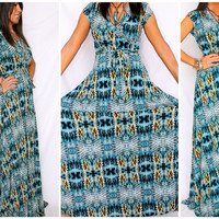 "MAXI DRESS ""AZTEC MERMAID"" LONG LENGTH SNAKE PRINT WRAP LOOK JERSEY USA MADE $69"