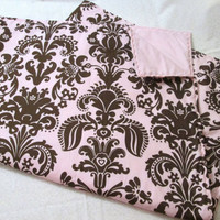 Reduced - Pink and Brown Damask Print - Modern Crib Quilt  - Whole Cloth Quilt