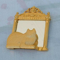 JJ Jonette Cat in Front of Mirror Goldtone Brooch Pin Vintage Figural Jewelry