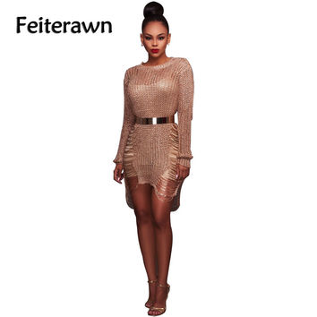 Feiterawn 2017 Spring Shiny Knitted Crochet Gold Hollow Out Long Sleeve  Loose O Neck Beach Dress Sexy Bikini Cover Up DY1816