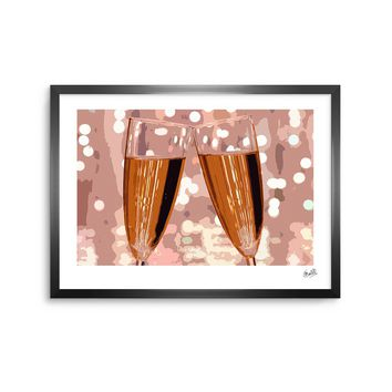 Champagne - Gold Pink Modern Digital Framed Art Print