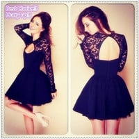 New Fashion Women Cute Lace Jewely Slim Long Sleeve Black Lace open-back Dress Elegant Homecoming Sexy Lace Chiffon Dress [8384307079]