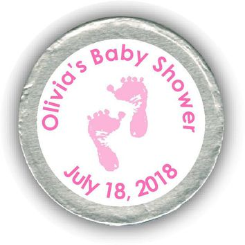 Pink Feet Baby Shower Chocolate Coins