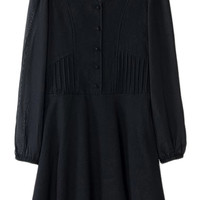 ROMWE Pleated Long Sleeves Pink Black Shirt Dress