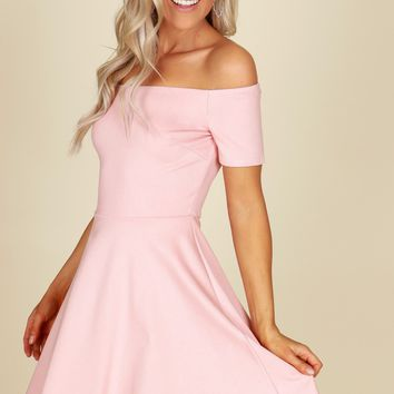 Off The Shoulder Fit And Flare Dress Mauve