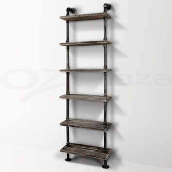 Industrial 6-Tiers Modern Ladder Shelf Bookcase ,Wood Storage Shelf,Display Shelving, Metal Wood Shelves Bookshelf Vintage...