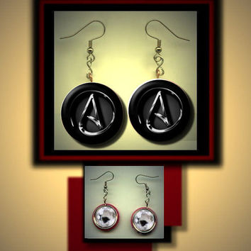 Atheist or Agnostic Inside A Symbol sign Red Altered Art Dangle Earrings with Rhinestone