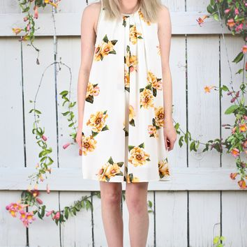 Sweet Florals Sleeveless Dress {Cream Mix}