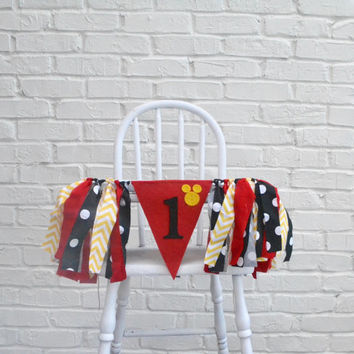 Mickey Mouse 1st birthday Banner - boy 1st birthday decor - Mickey mouse birthday -  boy 1st birthday - high chair banner - boy birthday