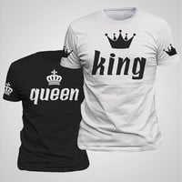 King & Queen Couple Matching Shirts with Sleeve Print (Black is Women,White is Men) [8833902284]